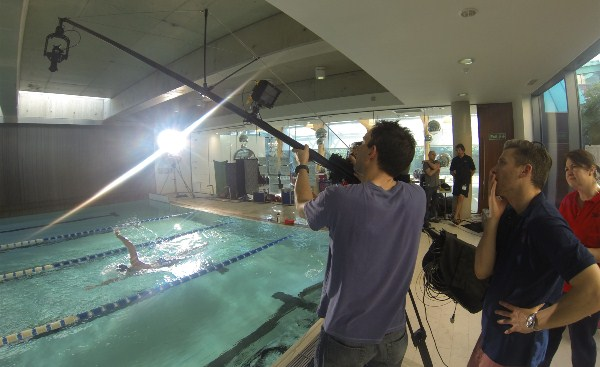 C300 and Polecam filming swimmer