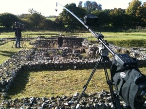 Polecam with Toshiba Minicam filming Roman remains