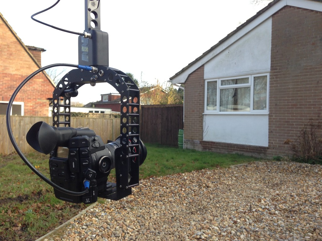 Canon C300 camera crane filming property