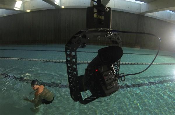 C300 on Polecam filming swimmer