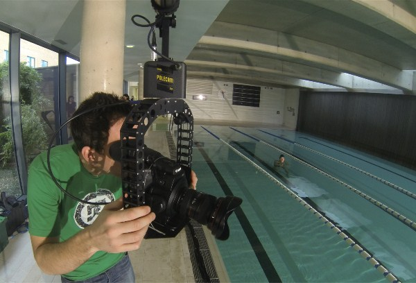 C300 on Polecam filming swimmers